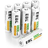 EBL 8 Pack High Capacity 2800mAh AA Ni-MH Rechargeable Batteries, Battery Case Included