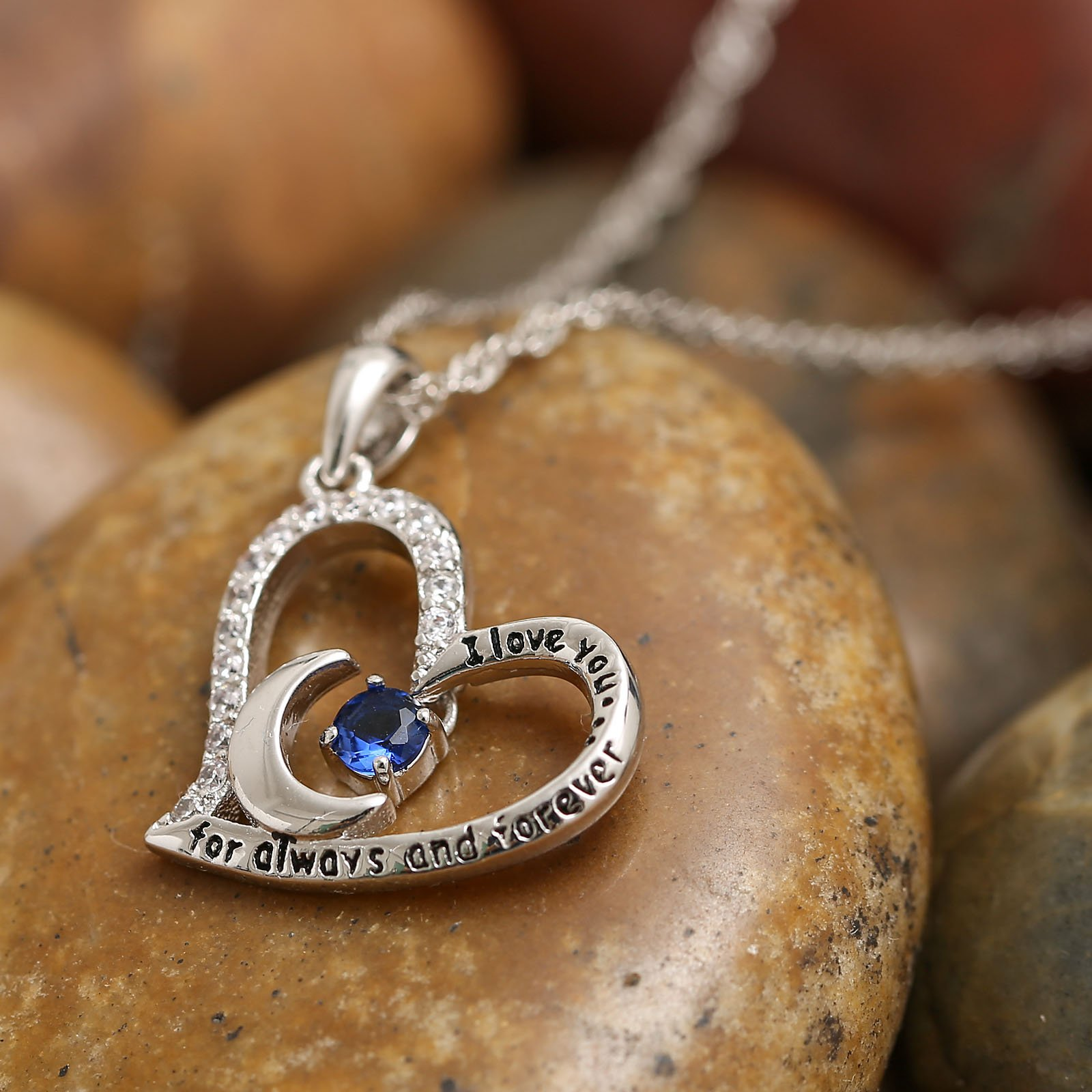 Valentine's Day Gift Fine Jewelry Gift Sterling Silver Heart Pendant Necklace Birthday Necklace I Love You For Always and Forever Dancing Birthstone (09-September-Sapphire) by Anna Crystal Jewelry (Image #3)