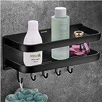 Wangel sterk klevende opbergmand met 5 haken, voor badkamer en keuken, gepatenteerde lijm + zelfklevend, aluminium Zwart