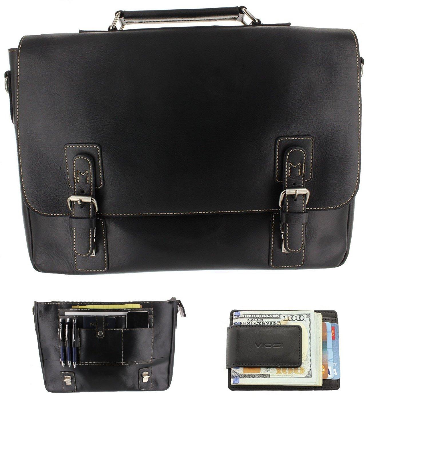 Viosi Mens RFID Leather Messenger Bag / 14 or 16 Inch Laptop Briefcase Shoulder Satchel Bag / RFID Money Clip Included
