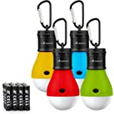 MalloMe Camping Tent Lantern Bulb Lights - 4 Pack - Portable Camp LED Lamp for Fishing Hiking Emergency - Battery Powered Includes 12 AAA