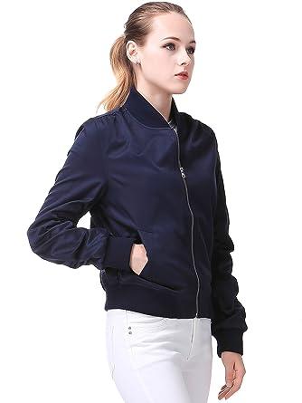 Miya Classic Flight Jacket Short Bomber Jacket Women Coat at ...