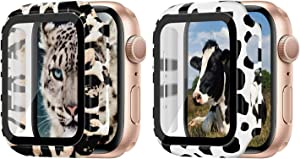 2 Pack Leopard +Cow Case Compatible Apple Watch 44mm Built-in Tempered Glass Screen Protector Full Coverage HD Clear Protective Film Cover Compatible with Apple Watch Series 6/5/4/SE