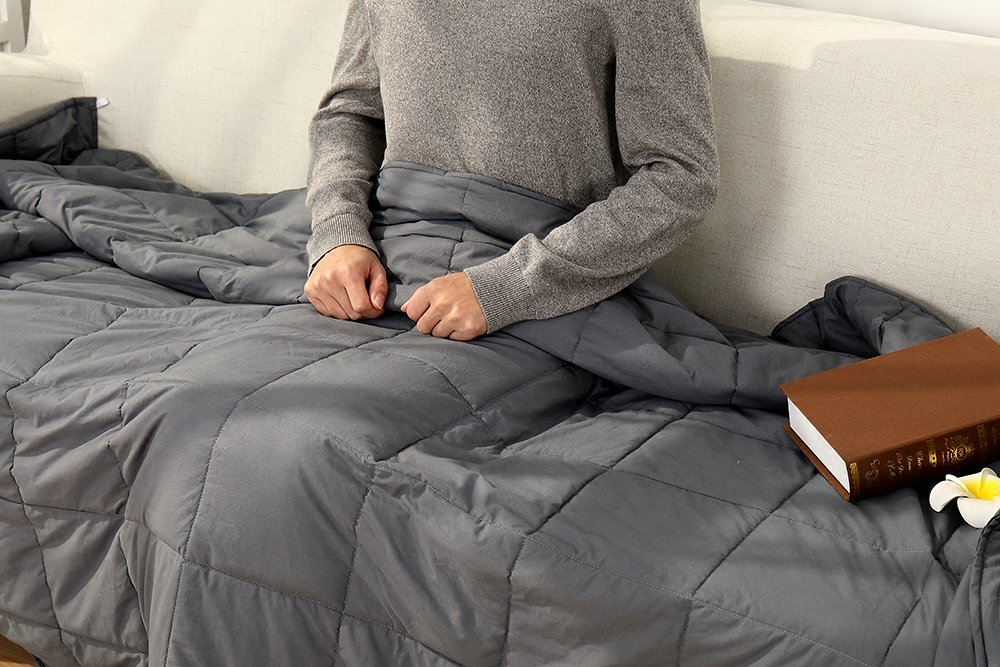 Witlucky Weighted Blanket for Adults, Stress and Anxiety Relief, Improve Sleep Quality, Great for ADHD, Autism, OCD and Sensory Processing Disorder (Grey, 60x80 inch,17 lbs) by Witlucky (Image #6)