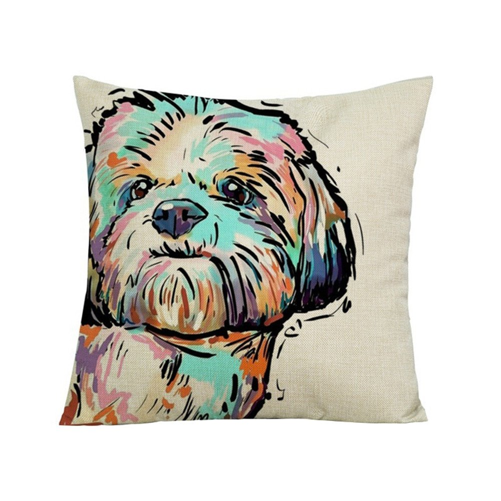wintefei Cartoon Dog Waist Throw Cushion Cover Linen Pillow Case Home Sofa Decor? -3#