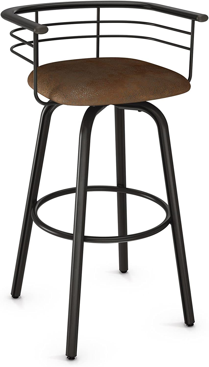 Amisco Turbo Swivel Metal Counter Stool In Semi Transparent Gun Metal Finish And Medium Brown Soft Polyester Amazon Co Uk Kitchen Home