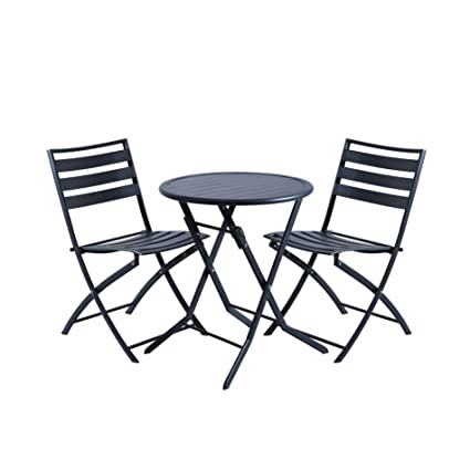 DOMI Set 3 piezas de mesa y silla estilo bistro plegables de patio interior y acero brillante -alftc01