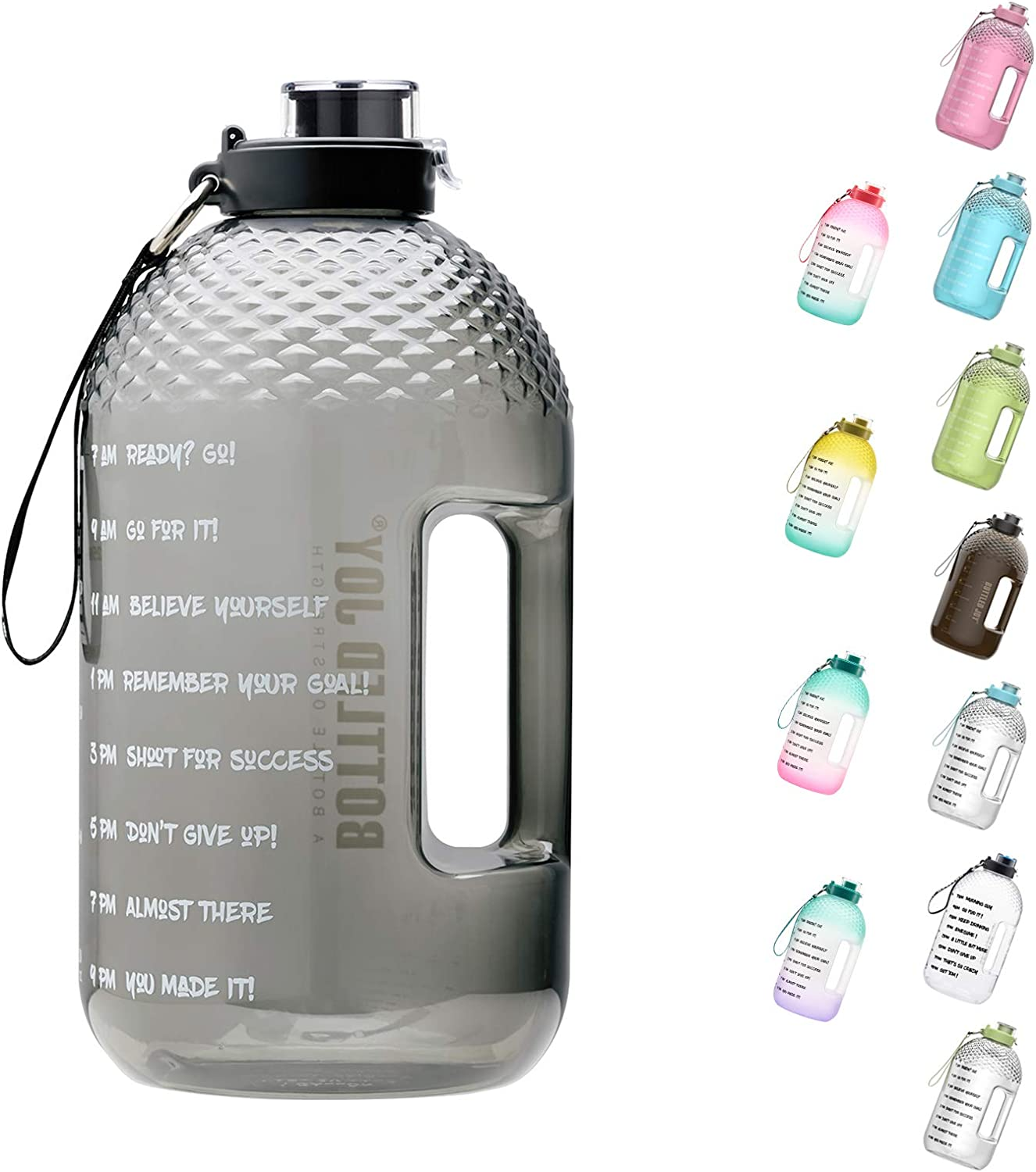 BOTTLED JOY 1 Gallon Water Bottle, BPA-Free Large Water Bottle Hydration with Motivational Time Marker Reminder Leak-Proof Drinking Big Water Jug for Camping Sports Workouts and Outdoor Activity
