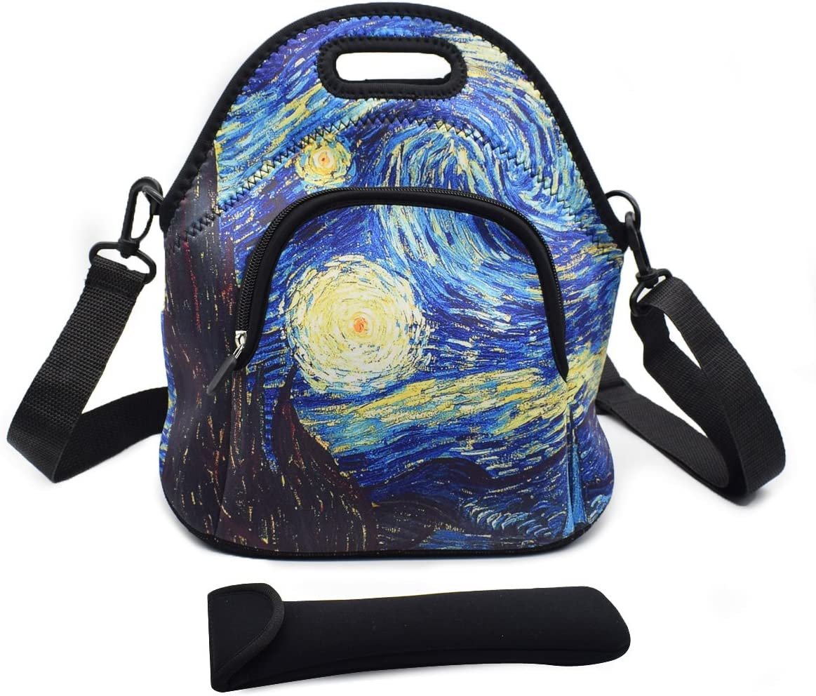 VIPbuy Multipurpose Neoprene Lunch Bag Kit, Soft Insulated Thermal Lunch Boxes Container Tote Large with Detachable Adjustable Shoulder Strap, Pocket, Cutlery Organizer Bag (The Starry Night)