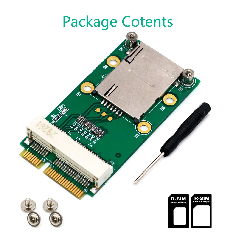 LeHang Mini Adaptador PCI-E con Ranura para Tarjeta SIM para 3G ...