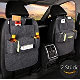 2Pack Back Seat Car Organizer Tidy with Tablet Holder Children's Travel Storage Pockets Kids Kick Mat Fristee Seat Protector Cover-Gray