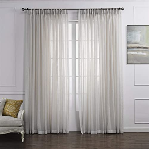 LoyoLady Off White Sheer Linen Curtains 102 Inches Long 2 Panels Pinch Pleated Curtains