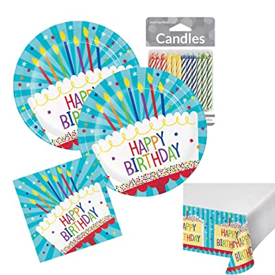 Happy Birthday Plates and Napkin Sets Disposable Party Tableware Kit: Toys & Games