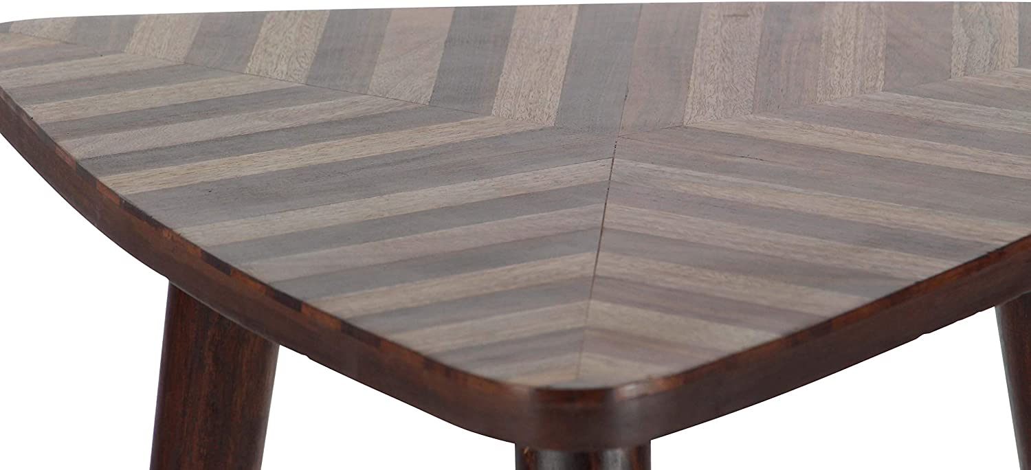 Deco 79 Wood Triangle Table, Dark Brown