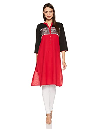 Rangmanch By Pantaloons Women's Straight Kurta Women's Kurtas & Kurtis at amazon