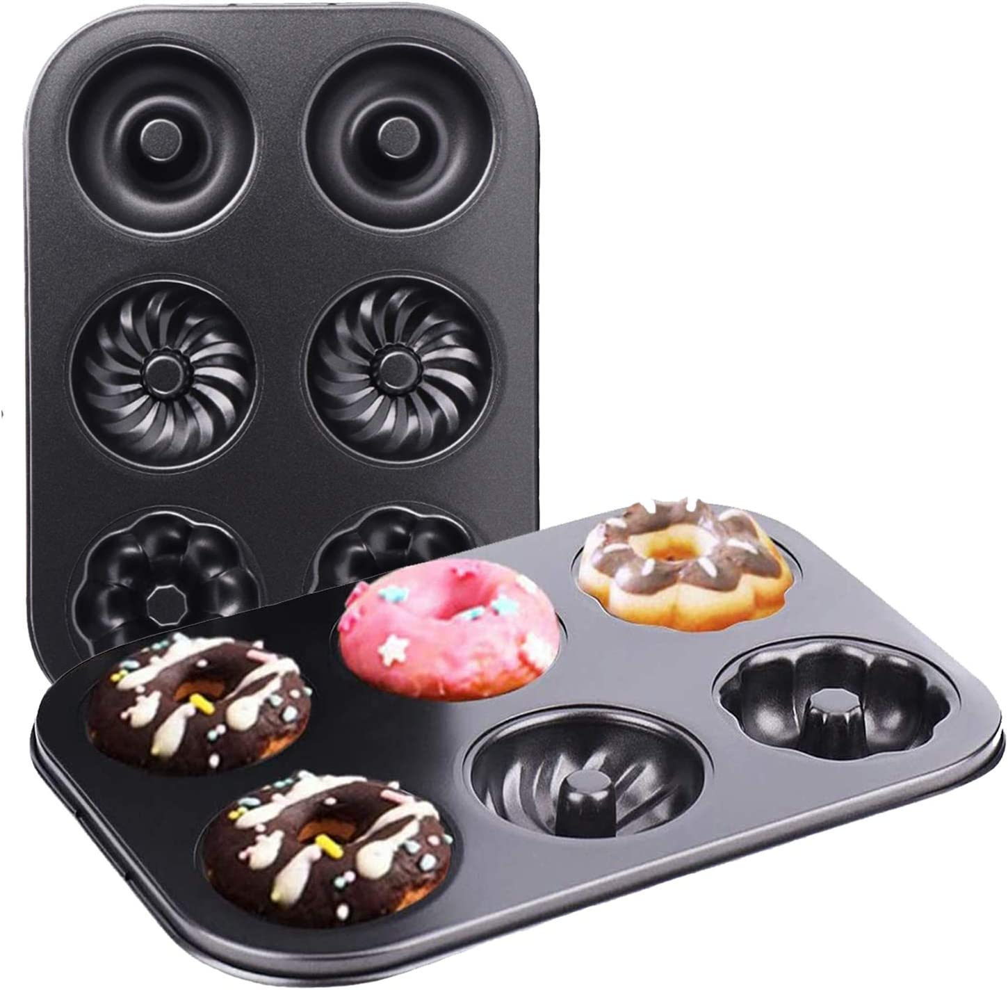 2pcs Silicone Donut Baking Pan Mold Tray Non-Stick 8 Holes for Chocolate Muffin Cake Biscuit Bagels