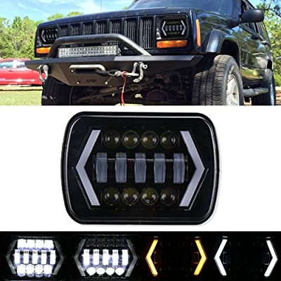 7x6 inch Halo LED Headlight, 5x7 inch Square LED Headlamp with Arrow Angel Eyes DRL Turn Signal Light Replaces H6054 H5054 H6054LL 69822 Fit Trucks Jeep Wrangler XJ YJ Sedans GMC --- Smoked Lens: Automotive