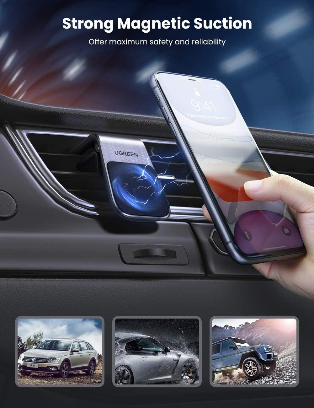 UGREEN Supporto Smartphone Auto Magnetico Porta Cellulare da Auto Ventilazione Universale 5 Magneti Protezione Anticaduta Mini Supporto Calamita Compatibile con iPhone Samsung Huawei Smartphone