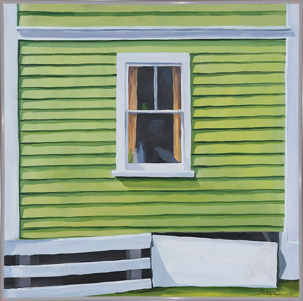 Green Window-CATBRE124207 Print 11''x11'' by Catherine Breer in a White Metal Frame