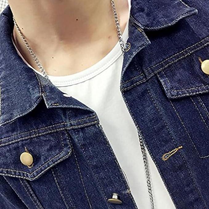 Hemay Men's Casual Denim Jacket Rugged Wear Slim Thin Cowboy Coat by Amazon