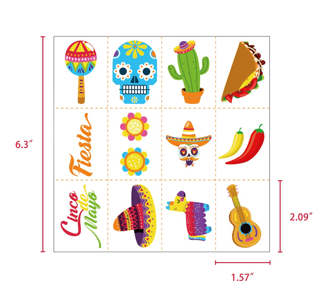Cinco de Mayo Fiesta Tattoos Stickers – Mexican Party Favors Supplies Decorations by Your Little Lovely (Image #2)