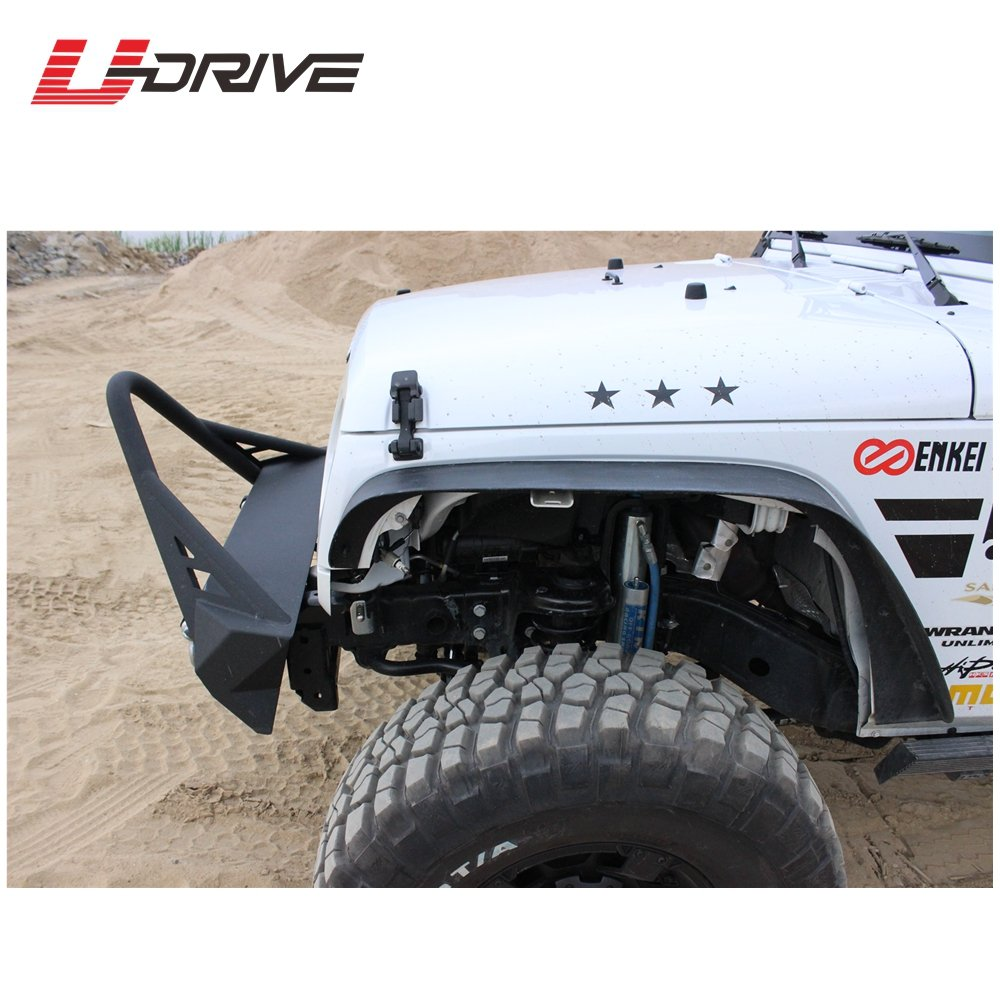 Drilling Required U-Drive Auto B62S0921 Tuxtured Steel Flat Style Fender Flares for 2007-2018 Jeep Wrangler JK Unlimited