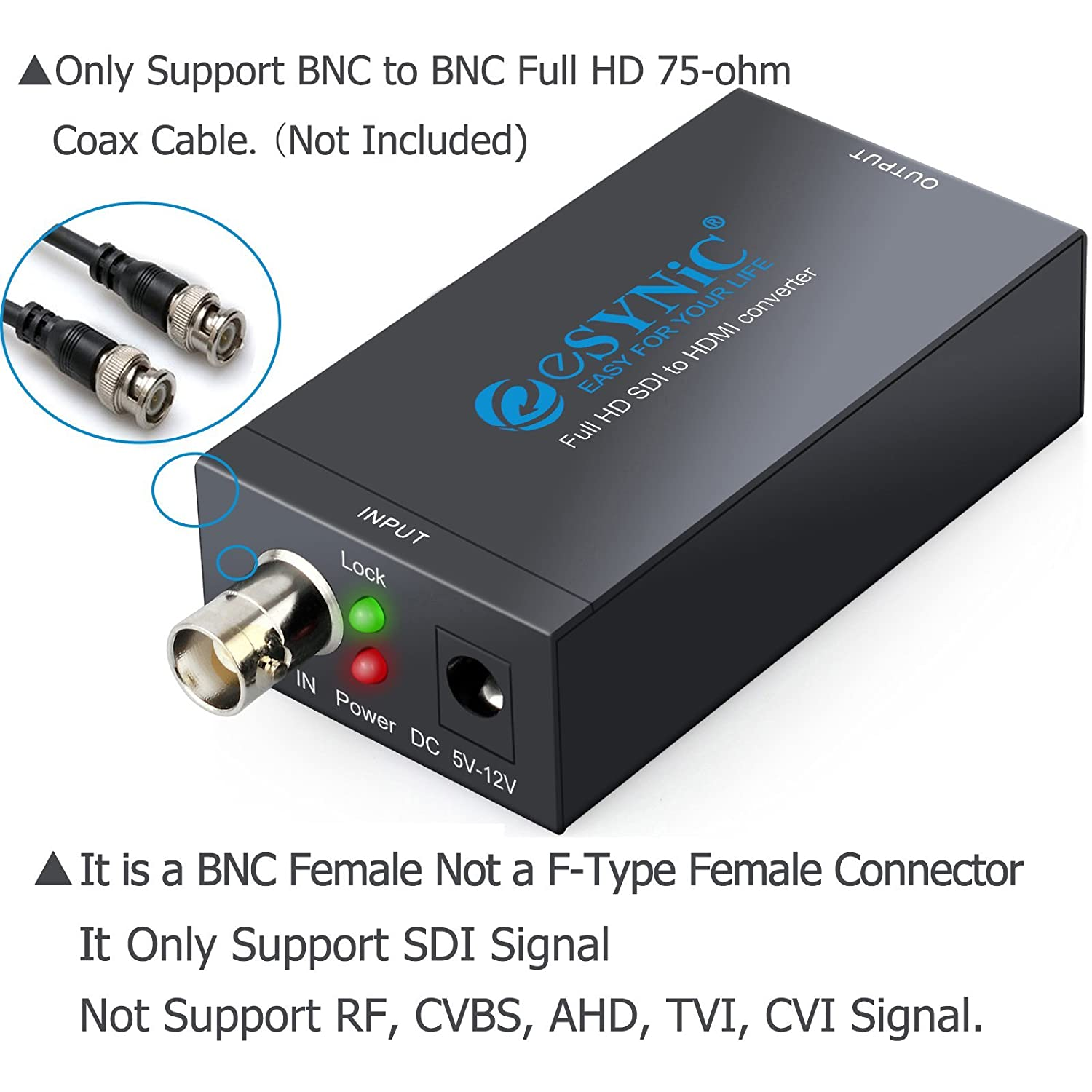 eSynic SDI to HDMI Converter Mini 3G 1080P Converter Alloy HD Video Audio  Adapter Supports 3G SDI Signal and 1 485G SDI HD Signal HD-SDI SD-SDI and