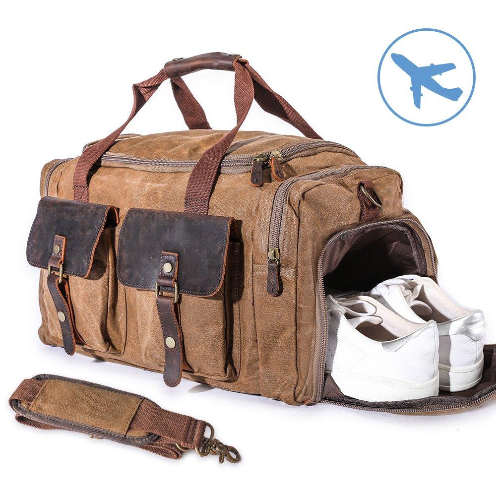 22'' Large Multi-Functional Canvas Travel Duffel Bag Overnight Carry On Bag Travel Tote Shoulder Bag Khaki