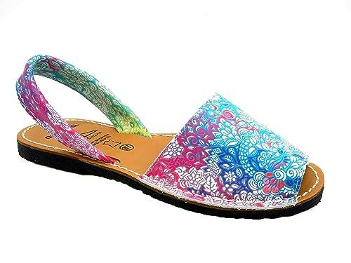 Avarca Made In Spain Damen Echtleder Sandalen mit Blumen Muster schöne Bequeme praktische Menorca Avarcas Leder Sommerschuhe Strandschuhe