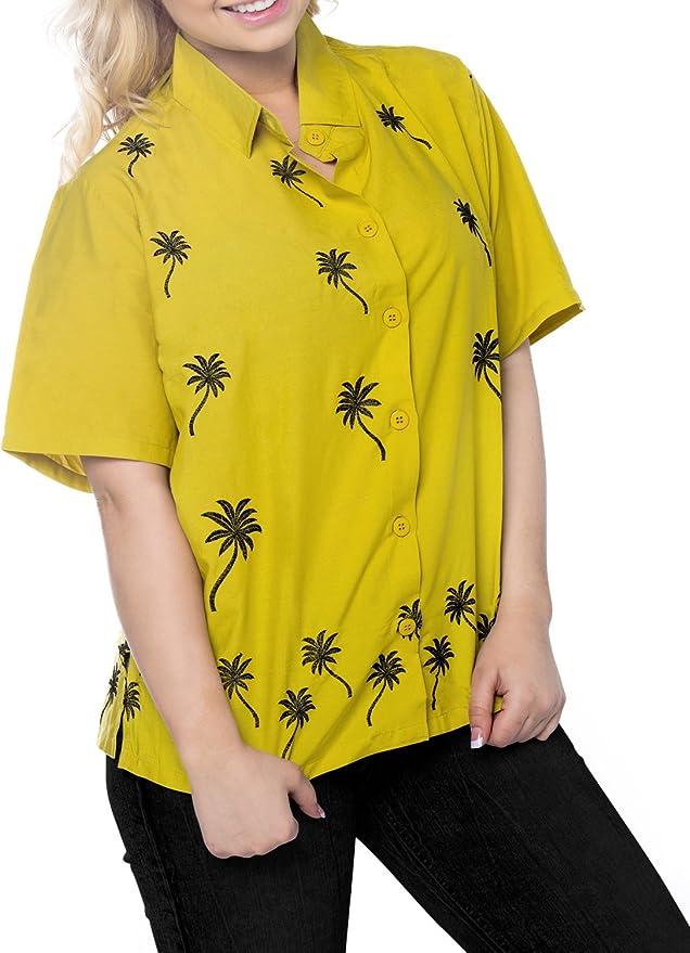 La Leela Smooth Likre Island Floral Flamingo Hawaiian Casual Tunic Top Short Sleeve Button Down Shirt Women Royal Blue