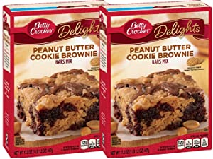 Betty Crocker Delights Mix Peanut Butter Cookie Brownie Bar Mix 17.2 Oz (2 Pack)