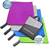 Aquamare Microfiber Towel for Beach, Hair, Travel, Gym, Sports - Lightweight, Absorbent Quick Dry Towels - Perfect for Yoga, Pool, Golf, Pilates, Camping & Shower - Includes Carrying Bag