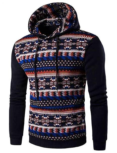 e0c493590 eshion Men's Patchwork Design 3D Ethnic Tribal Print Raglan sleeve Hoodie  sweatshirt at Amazon Men's Clothing store: