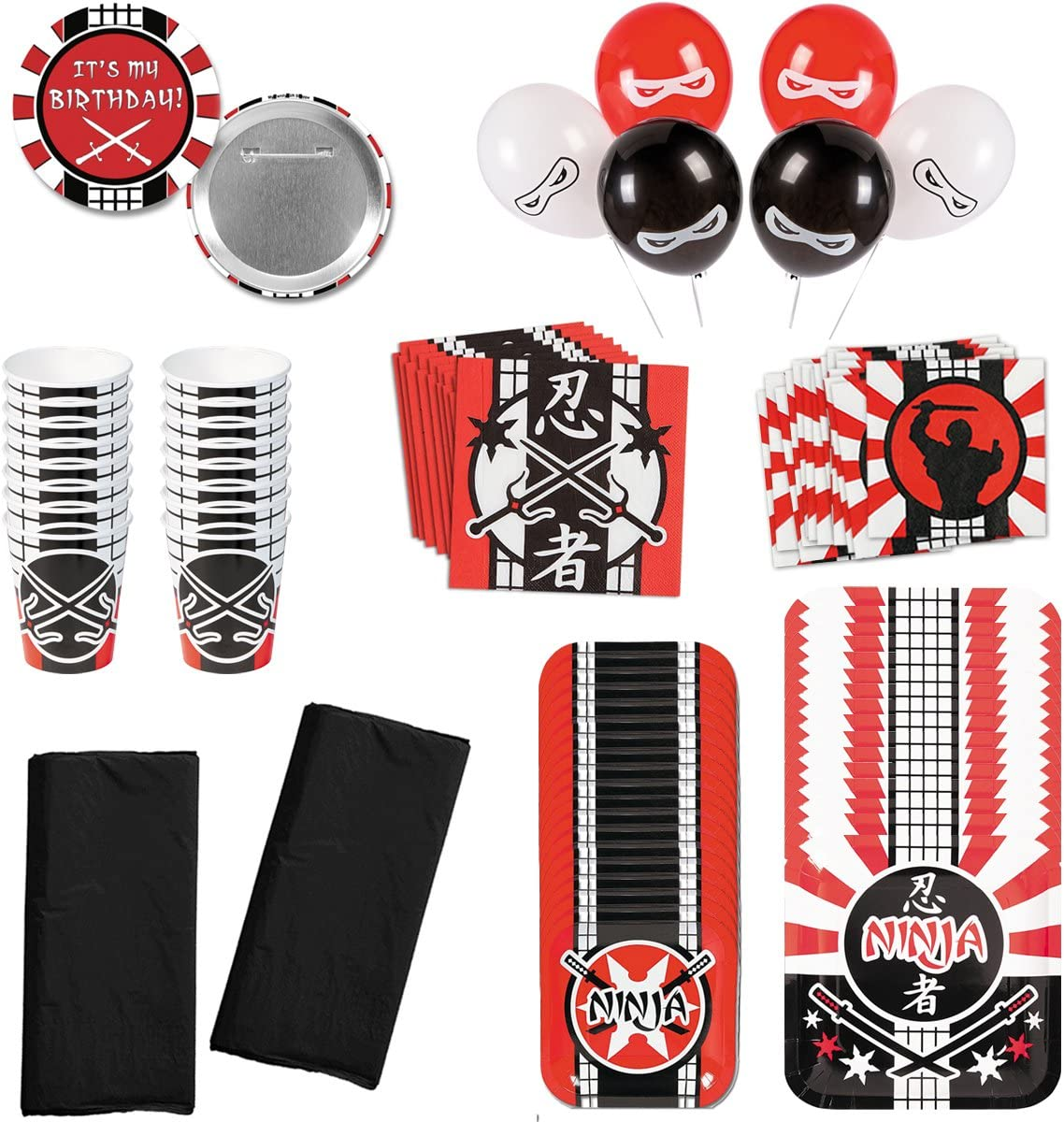 Ninja Warrior Birthday Party Supplies Pack Deluxe Bundle Kit Including Dinner Plates, Dessert Plates, Cups, Large Napkins, Small Napkins Table covers and Balloons - Serves 16 People …