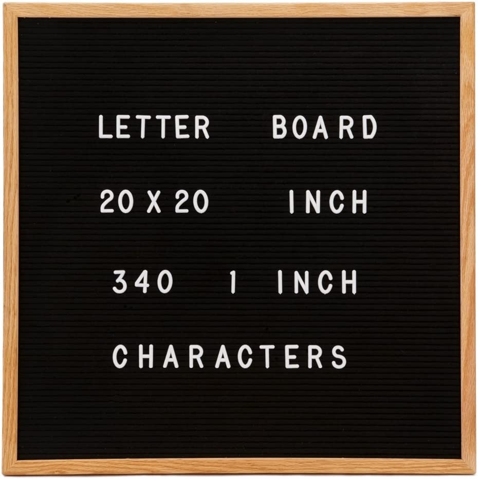 """Changeable Letter Board, Large 20"""" x 20"""" Inch Oak Wood Frame, Black Felt, 350 1 Inch Characters in Pouch - Larger Than Most Boards"""