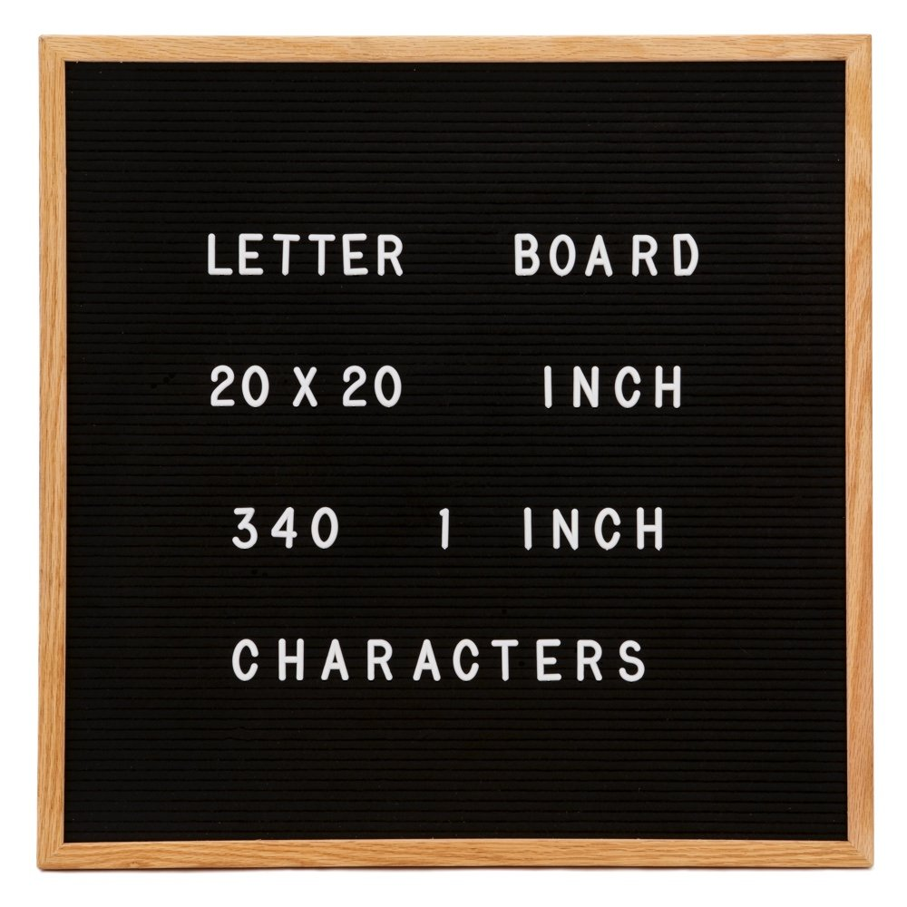 Changeable Letter Board, Large 20'' x 20'' Inch Oak Wood Frame, Black Felt, 340 1 Inch Characters in Pouch - Larger than most Boards