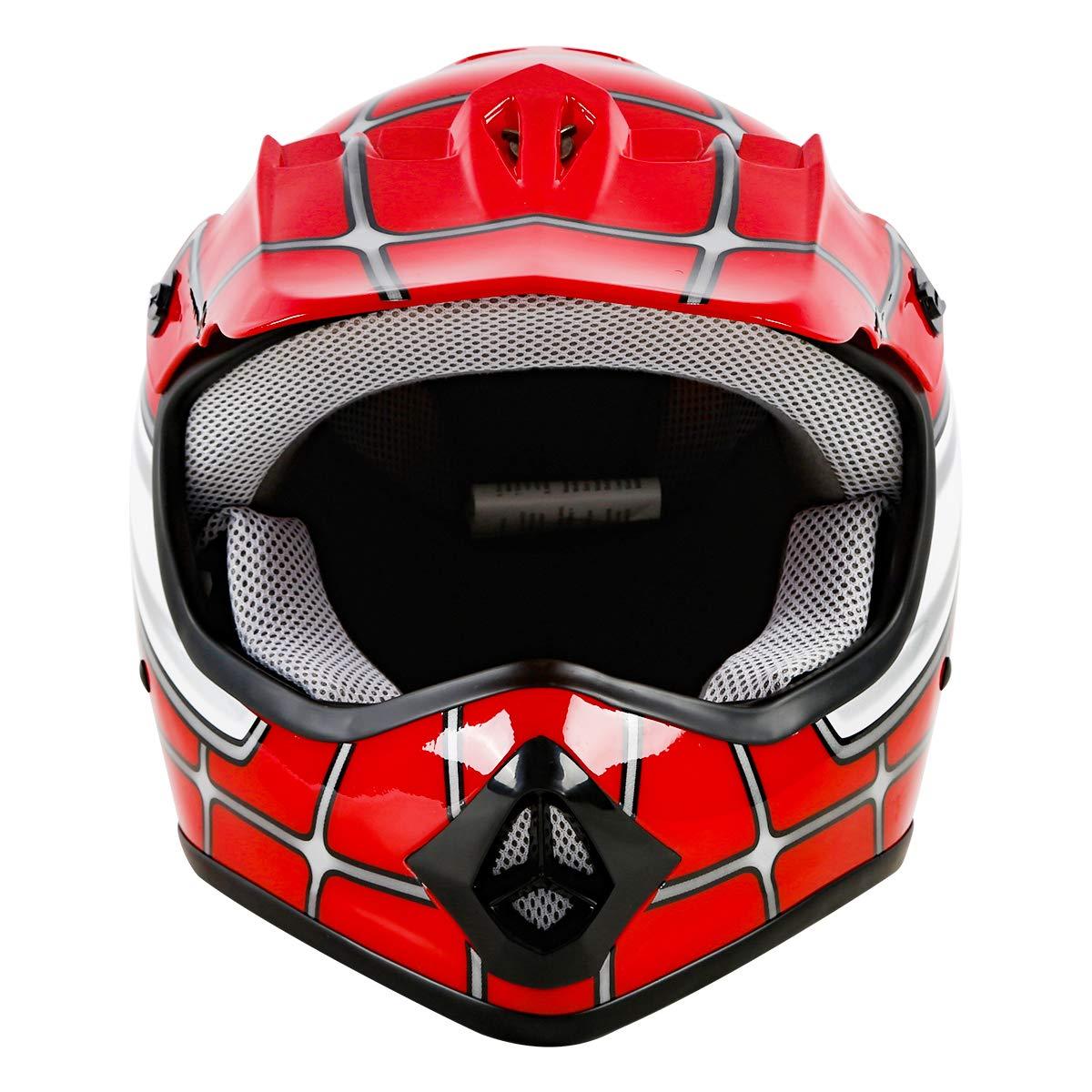 S TCT-MT Youth Kids Helmets+Goggles+Gloves Red Spider DOT Net Dirt Bike Helmet Motocross ATV MX Helmet w//Gloves+Goggles