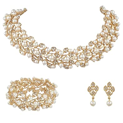EVER FAITH Austrian Crystal Bridal Cream Simulated Pearl Leaf Jewelry Set Clear 4IcaPwSS1