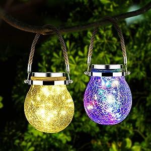 Solar Lantern Outdoor Hanging Mason Jar Lights 30 Led Solar Garden Lights,Yard Lights,Patio Decorations Solar LED Lights Outdoor,Waterproof Outdoor Decor Lamp,Solar Landscape Lights-2 Pack
