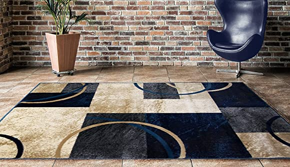 ADGO Atlantic Collection Modern Contemporary Abstract Geometric Circles Squares Swirls Living Dining Room Area Rug 3 x 5 , 5749A – Navy Tan