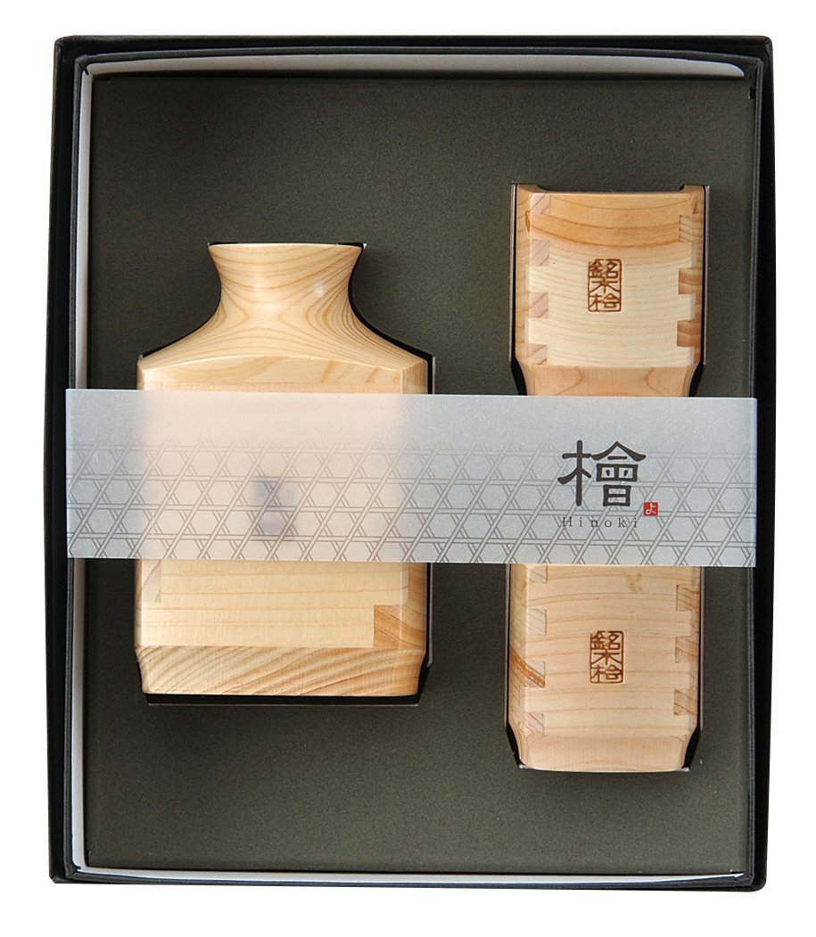 Yamako Pottery Iki Japanese Cypress Sake Bottle and Cups set 89282