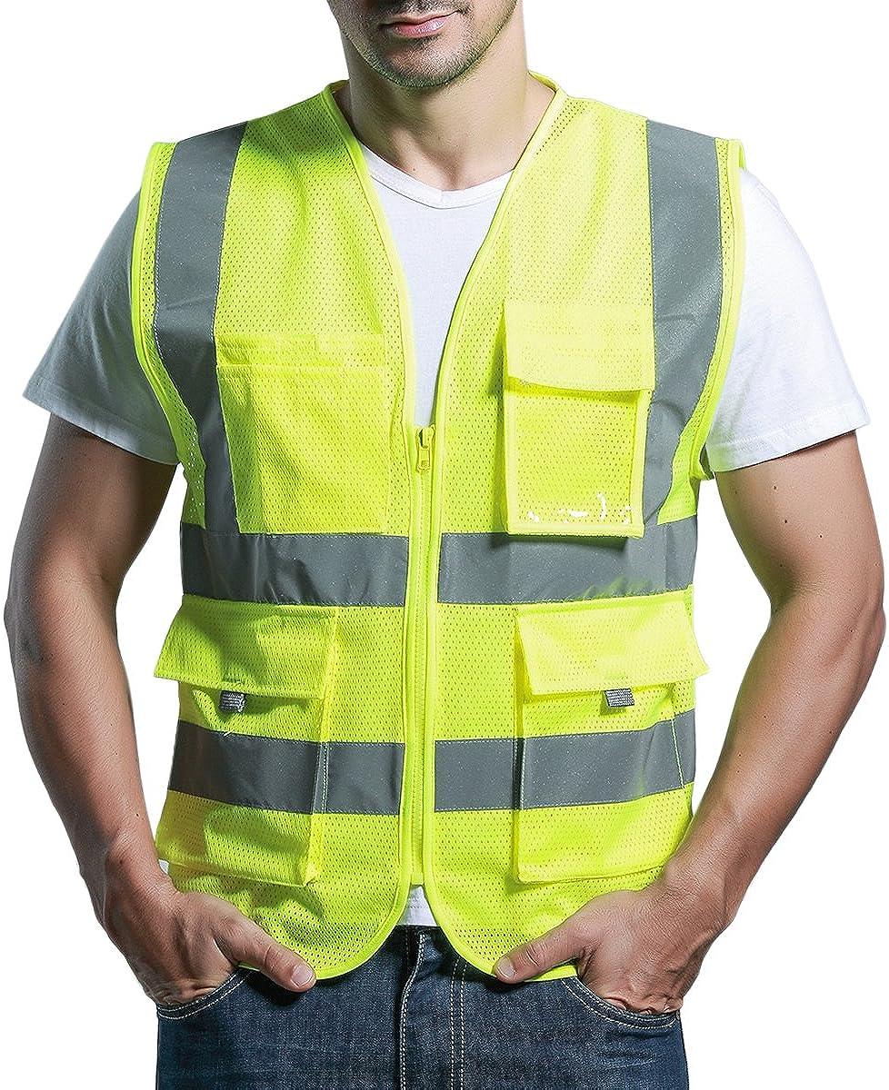 Sfvest Atmungsaktives Warnweste Netz Hohe Sichtbarkeit Sicherheitsweste Reflektierende Weste Mit Taschen Bekleidung