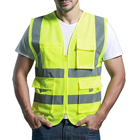 Neon Yellow Safety Vest Class 2 Reflective High Visibility Panegy 360 Degrees Mesh Sleeveless Security