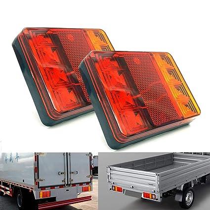 PolarLander 2PCS Impermeable 8 LED Piloto Trasero Rojo Amarillo ...