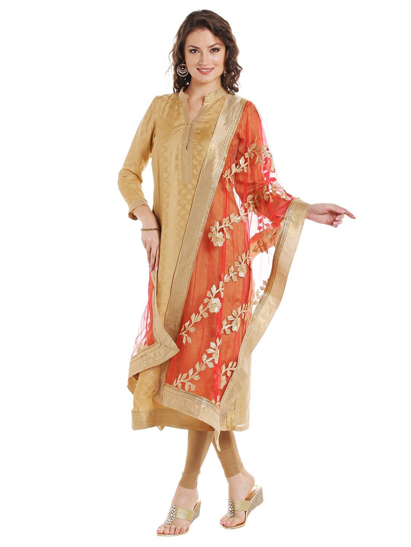 Dupatta Bazaar Women's Red Designer Net Dupatta with Gold Gotta Work Design