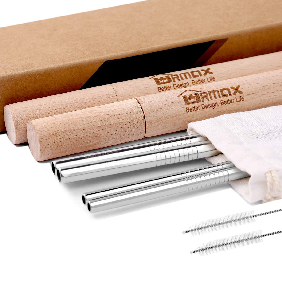 URMax Eco-Friendly Reusable, Premium Stainless Steel Metal Drinking Straws & 2 Handcrafted Wooden Travel Cases - 8.5 inches Straw Set of 6 & 2 Cleaning Brushes For Tumblers/Yeti / Ozark