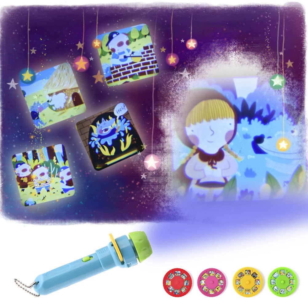 Children's Projector Torch Luminous Toy Flashlight with 4 Themes and 32 Kinds of Patterns (Button Batteries Included ) TwinkBling