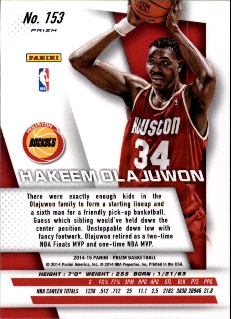 2014-15 (ROCKETS) Prizm Prizms Red White and Blue Pulsar #153 Hakeem Olajuwon at Amazons Sports Collectibles Store