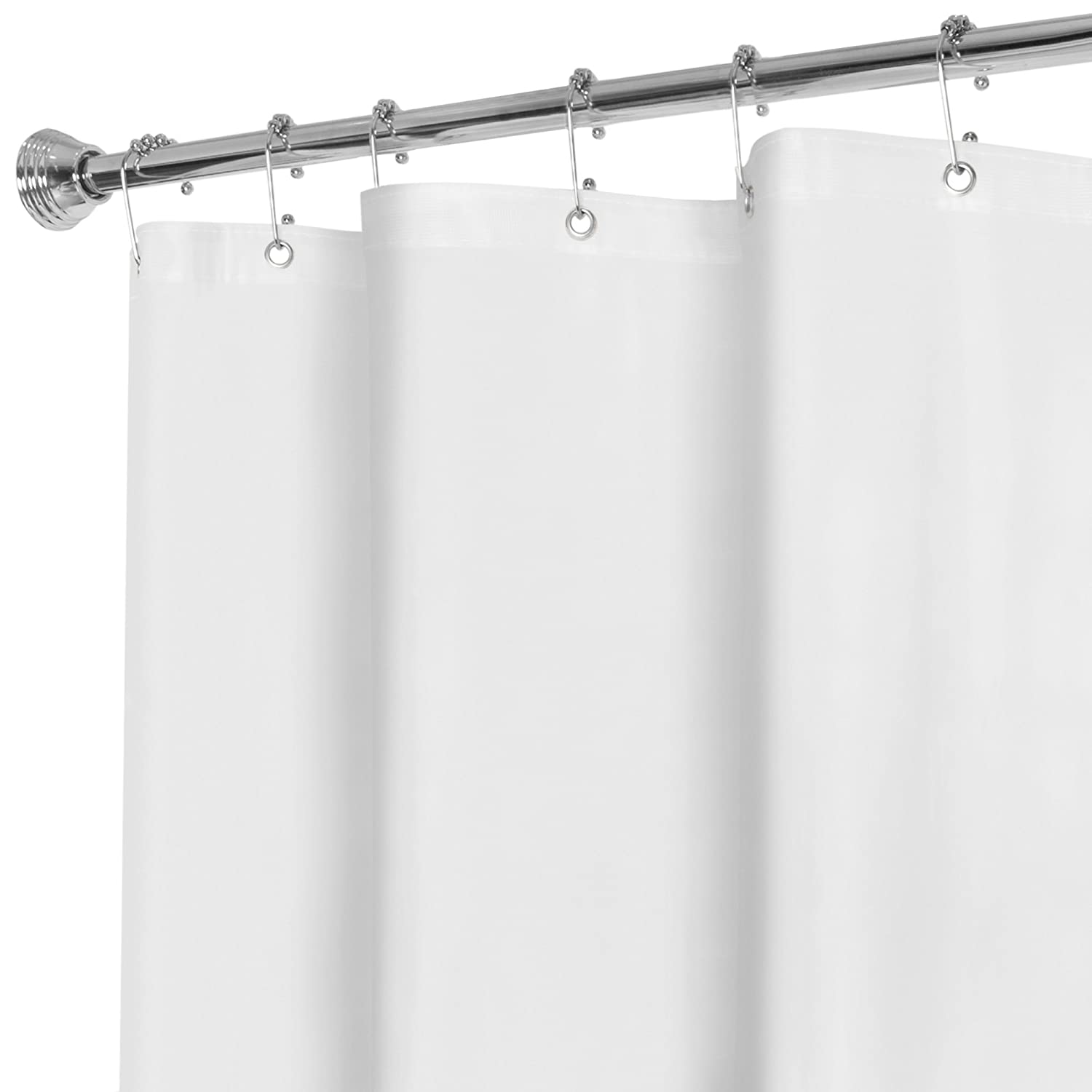 Maytex No More Mildew Super Heavy Weight Premium 10 Gauge Shower Liner or Curtain with Rust Proof Metal Grommets, White Maytex Mills 71130-WHT