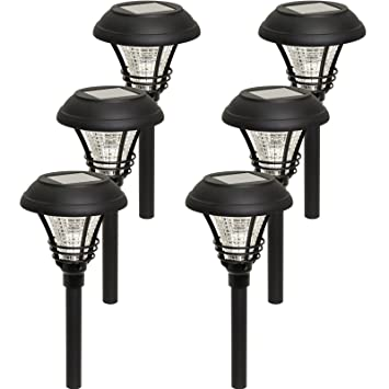 kenbury led outdoor garden solar path lights black 6 pack - Path Lights